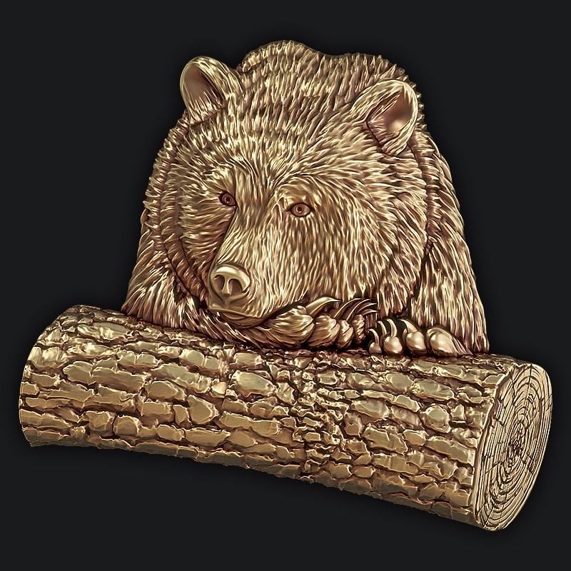 3D Model for CNC - The picture the Bear with a log