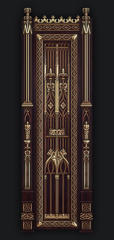 3D Model for CNC - Door in the Gothic style 3