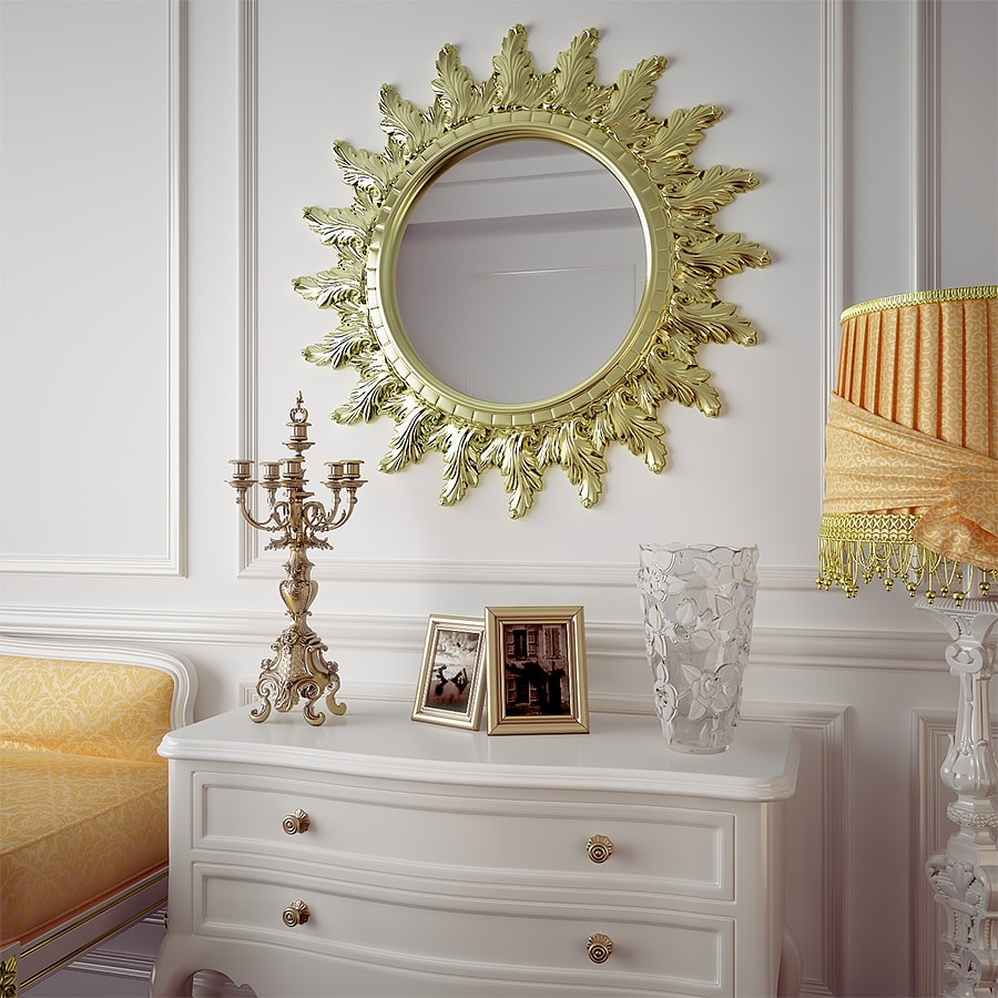 3D visualization of the Interior with mirror in classic style